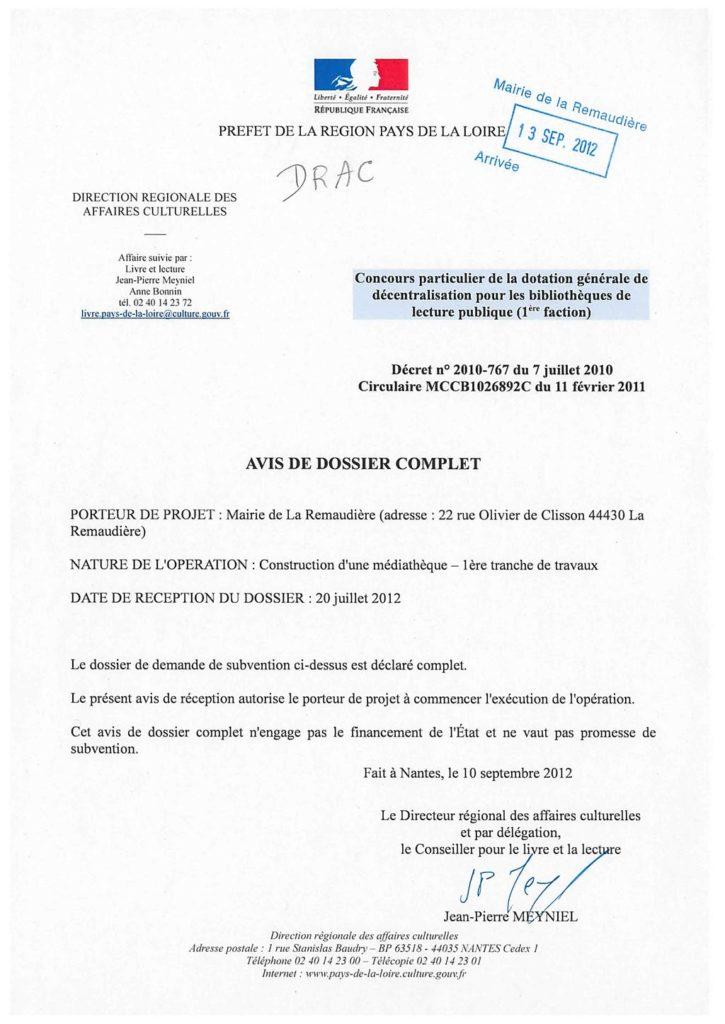avis de dossier complet travaux médiathèque La Remaudière