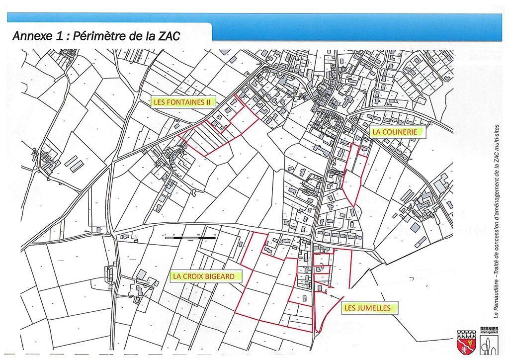 Plan des 4 lotissements sur la commune de La Remaudière