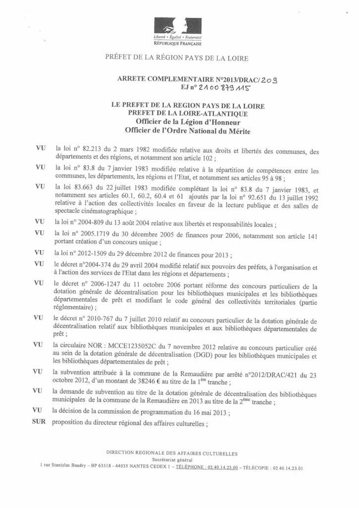 arrêté complémentaire n°2013/DRAC/209 subvention médiathèque La Remaudière