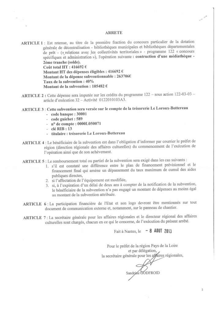 arrêté subvention médiathèque Le Loroux-Bottereau